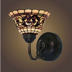 Westmore Lighting Tiffany Buckingham 7.5-in W 1-Light Vintage Antique Tiffany-Style Arm Hardwired Wall Sconce
