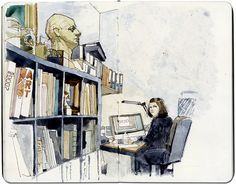 Mayhill Art School – Kirsty by Wil Freeborn. A sketch of a woman working at a computer.