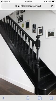 39 Inspiring Painted Stairs Ideas Staircase design, Stairs d. Black Stair Railing, Painted Staircases, House, Building Stairs, Banisters, Foyer Decorating, Painted Stairs, Carpet Stairs, Stairs Design