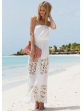 Lace Joint Chiffon Sexy Maxi Dress In Stock $11.10
