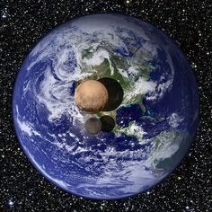 Pluto and its largest moon Charon compared with the size of Earth Credit: Nasa