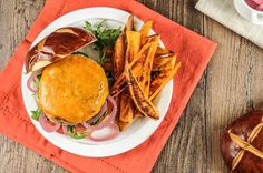Pub-Style Turkey Cheddar Burger with Pickled Onions and Sweet Potato Fries  #homechef #recipe #nutfree