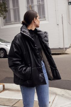 Black Nanushka puffy jacket | Vintage Levis | black ATP boots | outfit | Street Style | Harper and Harley