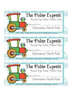The Polar Express Tickets (eng)- free by Lidia Barbosa Polar Express Tickets, Polar Express Theme, Preschool Christmas, Christmas Fun, Holiday Fun, Christmas Artwork, Christmas Program, Holiday Mood, Holiday Crafts