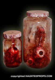 A jar set of torn eye balls from HauntedProps.com!