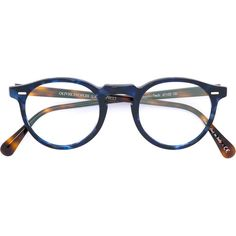 Oliver Peoples Gregory Peck round frame glasses ($354) ❤ liked on Polyvore featuring accessories, eyewear, eyeglasses, blue, oliver peoples, oliver peoples eye glasses, acetate glasses, oliver peoples eyewear and unisex glasses