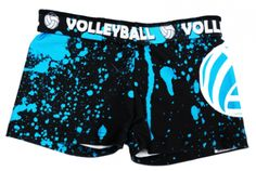 """You're sure to standout in these Volleyball Spandex Shorts!    * These are for the true volleyball fashionista!    * Spandex feature a fold-over waist for an extra splash of color!    * Made with a comfortable blend of polyester and spandex fabric, this moisture wicking material is great for practice or competition.    * Also a Great volleyball gift idea!    * 2.5"""" inseam."""