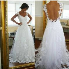 White Lace/Tulle Cap Sleeve Aline Bridal Gown by Angelovedresses, $168.00