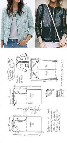 Chaqueta tipo Chanel Bricolage moulé corte e costura Marlene Mukai – Les Tendances Coat Patterns, Sewing Patterns Free, Sewing Tutorials, Clothing Patterns, Sewing Projects, Sewing Tips, Make Your Own Clothes, Diy Clothes, Ladies Clothes
