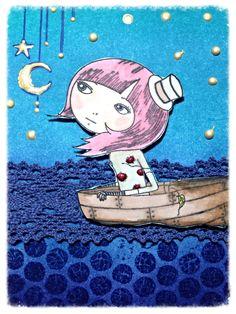 Sailing in a moonlit sea