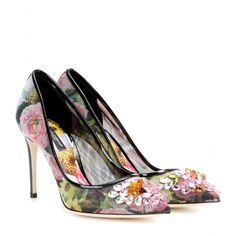 mytheresa.com - Verzierte Pumps mit Print - Hoher Absatz - Pumps - Schuhe - Dolce & Gabbana - Luxury Fashion for Women / Designer clothing, shoes, bags