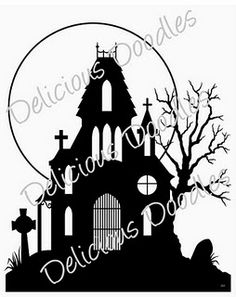 Clipart Of Silhouette Of A Haunted House 383500