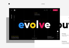 Broklin Onjei shared a beautiful web design project on Behance. Using three different vibrant colours to define a creative agency approach to design and a unique monogram logo made of e (evolve) + c (creative) to lift up the brand name. Web Design Projects, Web Design Tips, Design Strategy, Design Design, Graphic Design, Website Design Layout, Web Layout, Beautiful Web Design, Web Design Agency