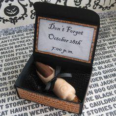 halloween party invite idea. Wilton chocolate finger mold around a pretzel ...