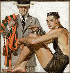 "J.C. Leyendecker 1920 ""Record Time, Cool Summer Comfort"" / House of Kuppenheimer ad"