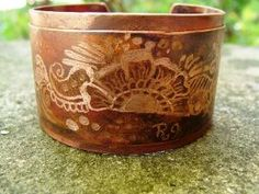 Metal Ink\'d  Copper Cuff Bracelet Hand Engraved & by ReaganJuel