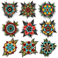 Old school tattoo art flowers for design and decoration. Old school tattoo flowe. - Old school tattoo art flowers for design and decoration. Old school tattoo flowe. Old school tattoo art flowers for design and decoration. Rosa Old School, Old School Rose, Mandala Arm Tattoo, Tattoo Dotwork, Mandala Flower Tattoos, Mandala Art, Kunst Tattoos, Body Art Tattoos, Hand Tattoos