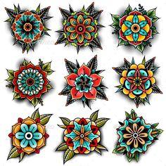 Old School Tattoo Flowers Set #floral #element Download : https://graphicriver.net/item/old-school-tattoo-flowers-set/19244122?ref=pxcr #UltraCoolTattoos