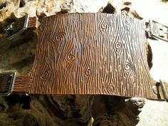 """Leather Hand Tooled Brown """"Wood Grain"""" Adjustable Cuff"""