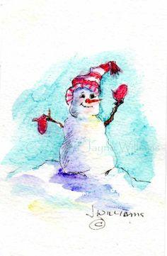 Warm Mittens Snowman   notecards  original watercolor by Jayneart, $13.00