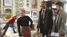 Lately I'm liking Alex Kerkovich's outfits on Happy Endings more & more. The best parts of this outfit are the high waisted and belted #skirt & #necklace.