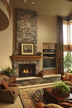 25 Stone Fireplace Ideas for a #FireplaceSurround