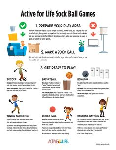 """Here are six simple games that kids can play indoors with limited space and """"equipment""""—including single-player games kids can enjoy even when a parent or sibling isn't able to join them. All you need are a few pairs of clean socks to roll into a ball! Gross Motor Activities, Indoor Activities, Activities For Kids, Space Games For Kids, Adapted Physical Education, Er 5, Activity Games, Kids Playing, How To Remove"""