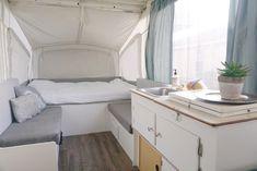 Camper Remodel: Part 3 – yours truly, sarah Vintage Camper Redo, Popup Camper Remodel, Caravan Decor, Best Sunscreens, Trailer Remodel, Remodeled Campers, Wood Slats, Survival Tips, Camping Survival