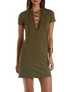 Short Sleeve Lace-Up Shift Dress #DressObsessed #CharlotteRusse