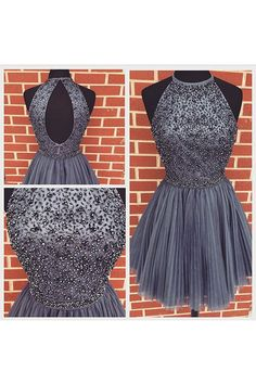Grey Tulle Homecoming Dress,Beading Prom Dress,Short Homecoming Dress,Short