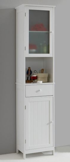 these tall bathroom units provide plenty of useful storage space while taking up the least floor area