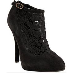 Dolce & Gabbana black suede lace ankle booties