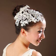 Lace Flowers with Imitation Pearl Wedding Headpieces – USD $ 19.99