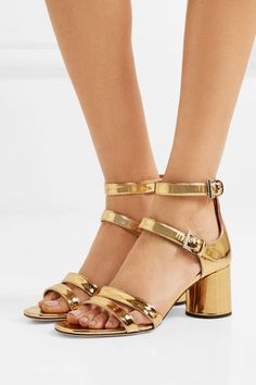 Heel measures approximately 65mm/ 2.5 inches Gold leather Buckle-fastening ankle straps  Made in Italy