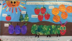 The very hungry caterpillar. Painting done by my class of preschoolers who have mental and/ or physical impairments. Special Ed preschool is not babysitting  :-)