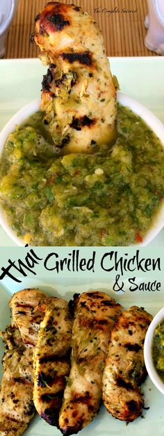 Thai Marinated Grilled Chicken ~ The Complete Savorist Chicken strips marinated in a Thai inspired sauce with chiles then grilled.