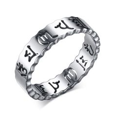 5MM Hollow Buddha Sanskrit Mantra Silver Titanium Ring For Men Ring Size 6-10. Shop for $7.29 or lower!