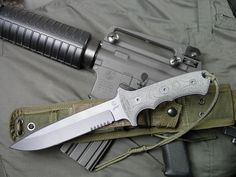 """Chris Reeve GBK Green Beret Knife, Spearpoint Blade, Black Canvas Micarta Scales, Tactical Nylon Sheath. The Green Beret Knife is the civilian version of what the U.S. Army Special Forces call """"The Yarborough"""". http://www.osograndeknives.com/store/catalog/fixed-blade-tactical-knives/chris-reeve-gbk-green-beret-knife-spearpoint-blade-black-canvas-micarta-scales-tactical-nylon-sheath-4296.html"""