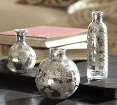 Etched Mini Mercury Glass Vases