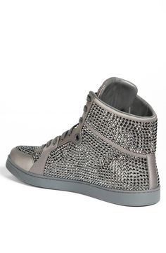 Sparkly crystals add some shine to a bold sneaker in a hot high-top cut.Textile upper/leather lining/rubber sole.By Gucci; made in Italy.Men's Shoes.