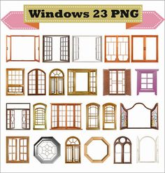 Window Windows Frame Photo Old Retro Classic Vintage Clipart PNG Set Digital Files Transparent Scrapbook Supplies Clip Art Instant Download
