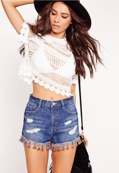 Circle Crochet Crew Neck Crop Top White - Missguided