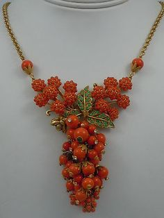 SKEW LONDON CORAL BERRY AND CLUSTER DROP NECKLACE