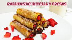 Rollitos de Nutella y fresas (rollitos de pan francés) receta de postre fácil y rápida | Cocinar en casa es facilisimo.com