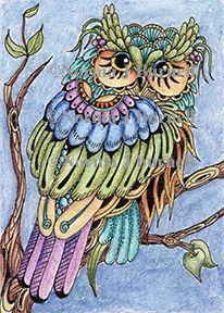 // ©Norma Burnells Hoot Owl - stamp
