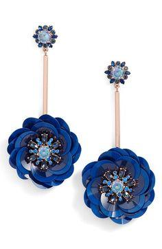 Main Image - kate spade new york snowy nights sequin drop earrings Pendant Earrings, Chandelier Earrings, Beaded Earrings, Beaded Jewelry, Kate Spade Earrings, Holiday Fashion, Modern Jewelry, Statement Earrings, Costume Jewelry