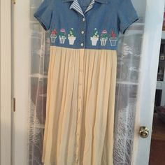 "Vtg:Long sun dress . Top is 100% cotton blue denim.Skirt is 100% rayon blue material. By:Ashlee USA.Dry clean only.Padded but can be detached.43"" long. NWOT. Smoke free home.Tip for dry clean: wash it w/woolite or liquid  soap ;cold water; no heat dryer ;hand wash or low cycle only. Dresses Midi"