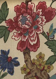 Persian Pomegranate Fabric from GP & J Baker red/indigo/stone