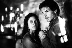 #merlin Guinevere (Angel Coulby) and Lancelot (Santiago Cabrera); There's something melodic about his voice that makes me love him as Lancelot.