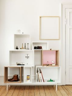 Storage idea for the bedroom - using different sized/shaped shelves adds character #bedroom #storage
